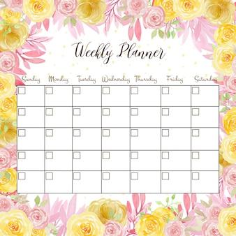 Planejador semanal floral com bonitos rosas cor de rosa e amarelas em aquarela