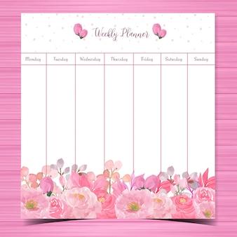 Planejador semanal floral com lindas rosas cor de rosa