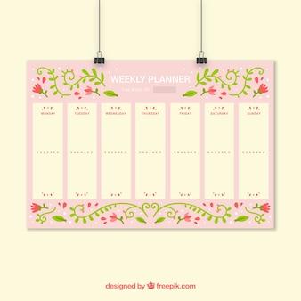 Planejador semanal floral