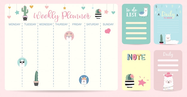 Planejador semanal infantil bonito