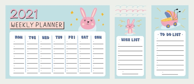 Planejador semanal, lista de desejos e para fazer a lista com ilustração de elementos desenhados à mão e coelho bonito