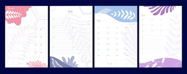 Planejador semanal. organizador e cronograma com notas, planejadores e lista de tarefas, listas de verificação de agenda, calendário, eventos, modelo vetorial