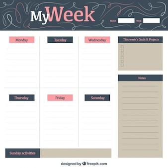 Planejador semanal vintage