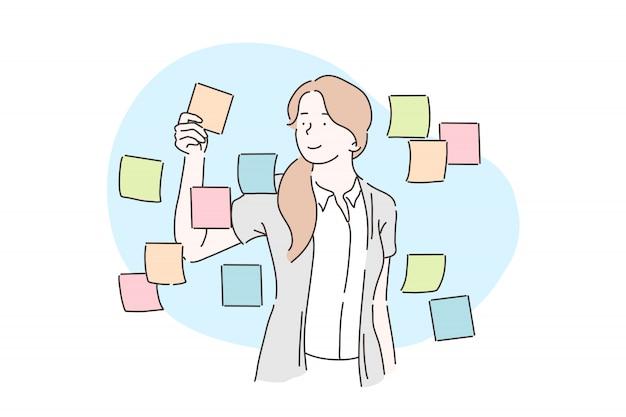 Planejamento, análise, conceito de plano de negócios.