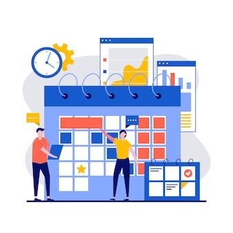 Planejamento avançado com pessoas faz um plano de gerenciamento de tarefas de reuniões em design plano