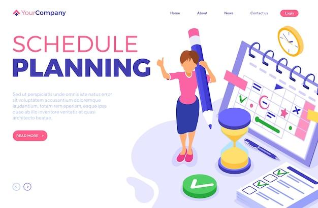 Planejamento, cronograma, gerenciamento de tempo e planejamento com prazo de tempo, infográficos isométricos, página de destino de negócios