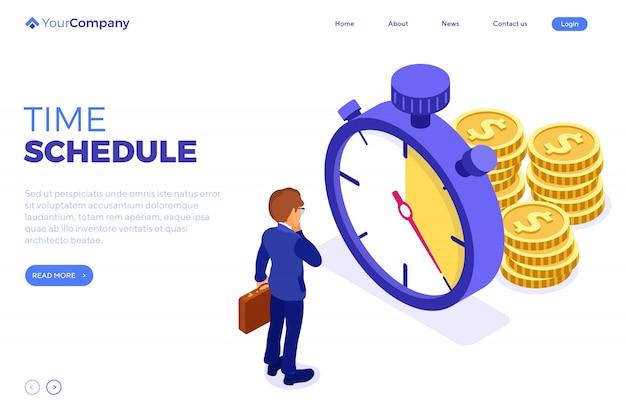 Planejamento da gestão do tempo do cronograma. modelo de página de destino