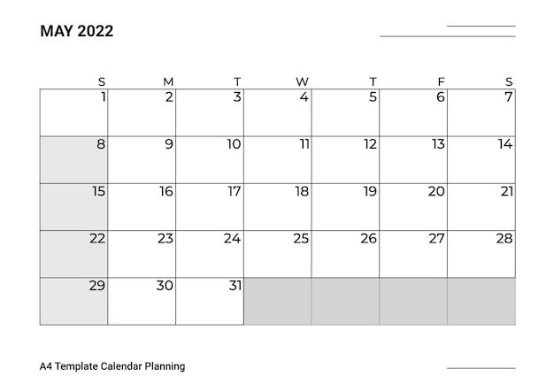 Planejamento de calendário modelo a4 maio
