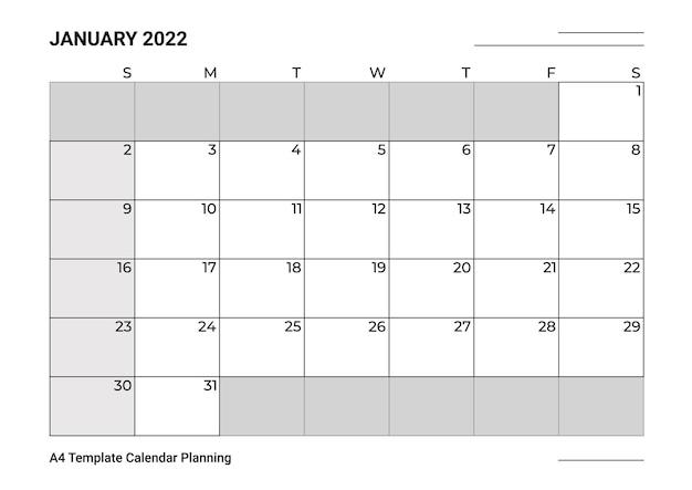 Planejamento de calendário modelo a4 para janeiro