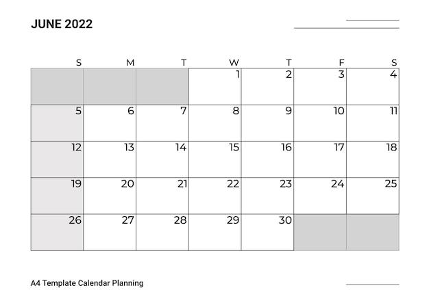 Planejamento de calendário modelo a4 para junho