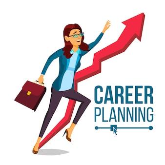 Planejamento de carreira de mulher de negócios