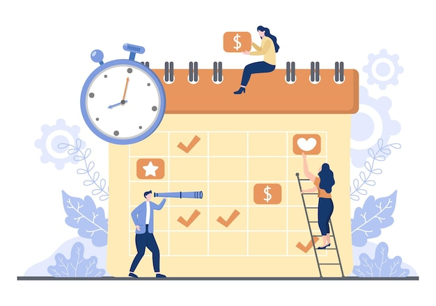 Planejamento de cronograma ou gerenciamento de tempo com calendário de reunião de negócios, atividades e eventos organizando processo de trabalho de escritório. ilustração em vetor de fundo