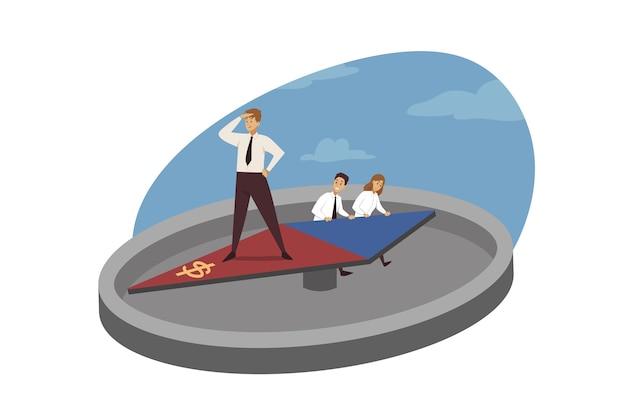 Planejamento de direção de estratégia, negócios, liderança.