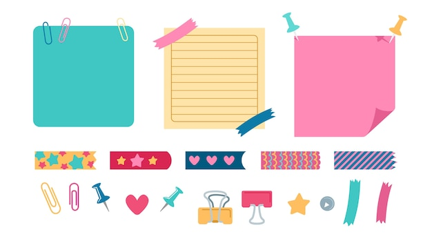 Planejamento de elementos de escritório conjunto de artigos de papelaria. elementos de design escolar para caderno, diário