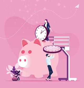 Planejamento de gerenciamento de tempo. economize tempo concept