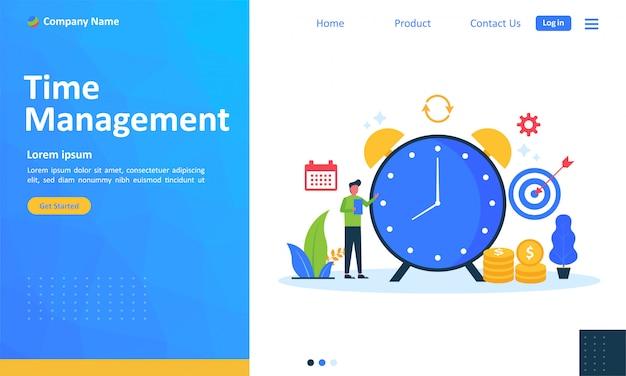 Planejamento de gerenciamento de tempo para página de destino da web