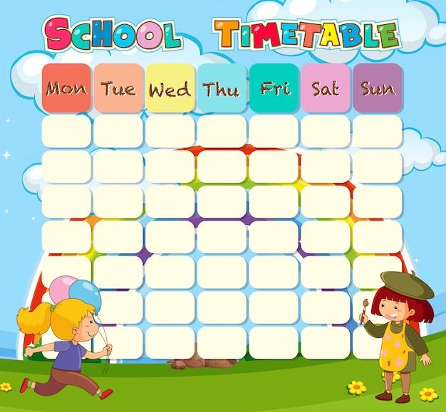 Planejamento de horário escolar com caracteres