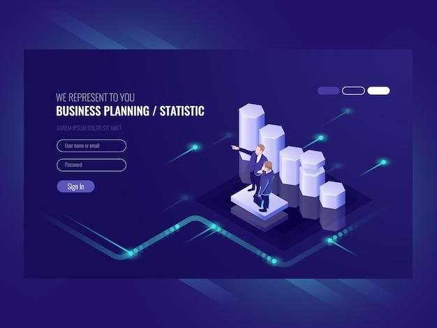 Planejamento de negócios, estatística, ilustração com dois empresário