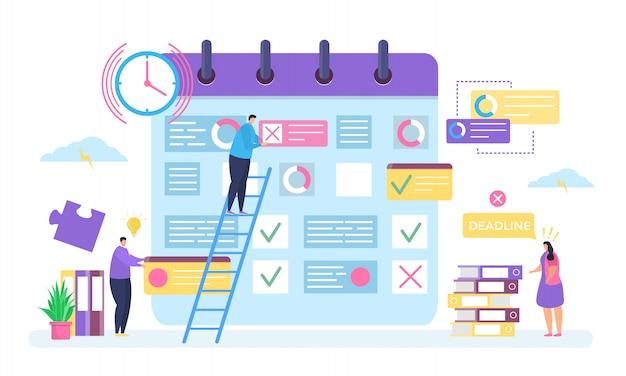 Planejamento de negócios, ilustração do conceito de prazo, trabalho de pessoas minúsculas dos desenhos animados, caracteres de empregado fazem plano tarefa de negócios no organizador