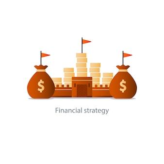 Planejamento de orçamento de fundos, estratégia de investimento financeiro,