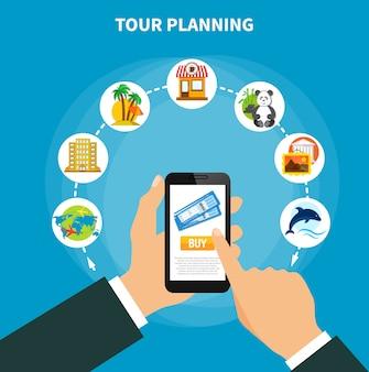 Planejamento de passeios com ingressos na tela do smartphone