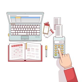 Planejamento do homem de negócios e cálculo de suas despesas