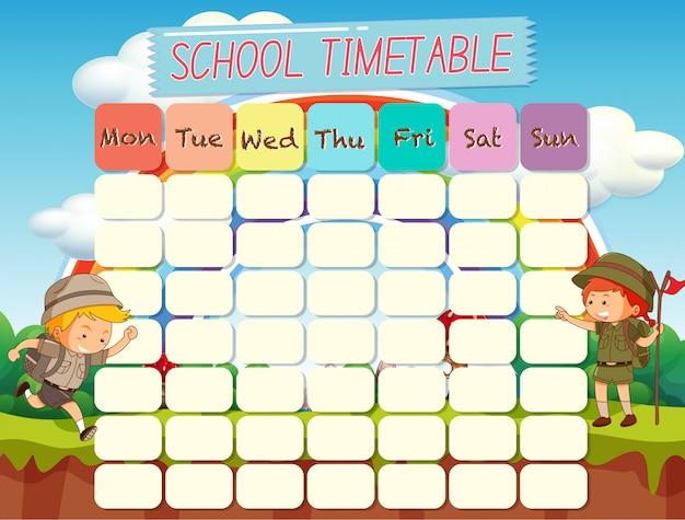 Planejamento escolar com horários com personagens