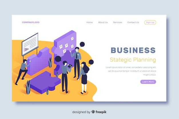 Planejamento estratégico da página de destino do negócio