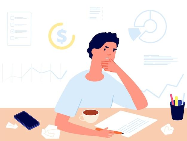Planejamento financeiro. escolha de investimentos, homem pensando em dinheiro. contabilidade, ilustração vetorial de cálculo de lucro. plano de escolha financeira, finanças empresariais