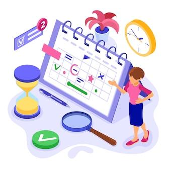 Planejamento, gerenciamento de tempo de cronograma e planejamento com prazo de negócios de infográficos isométricos