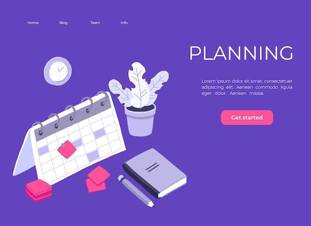 Planejamento isométrico programações de tarefas de negócios para a semana