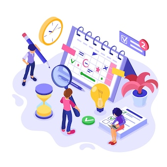 Planejando a gestão do tempo de cronograma e planejamento com negócios de infográficos isométricos de prazo de tempo