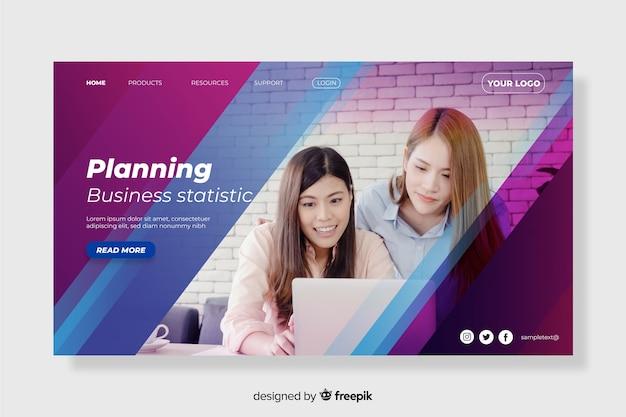 Planejando a página inicial de negócios com foto