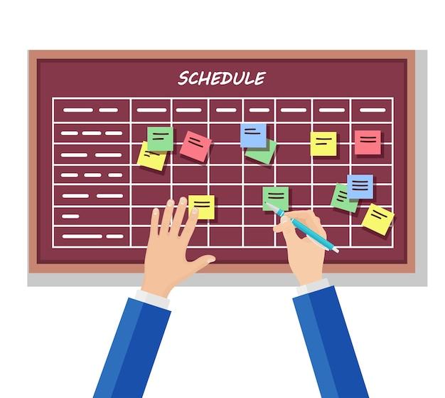 Planejando a programação no conceito do quadro de tarefas. planejador, calendário no quadro-negro. lista de eventos para funcionário. trabalho em equipe, colaboração, conceito de gerenciamento de tempo de negócios