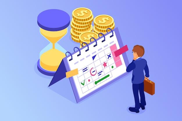 Planejando cronograma gerenciamento de tempo empresário planejando trabalhar em casa com ampulheta escolhe metas no cronograma calendário prazo final tempo isométrico infográficos negócios