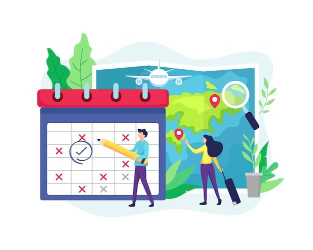 Planejando destinos de horário e férias
