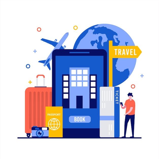 Planejando férias, reservando conceitos de serviço online com caráter.