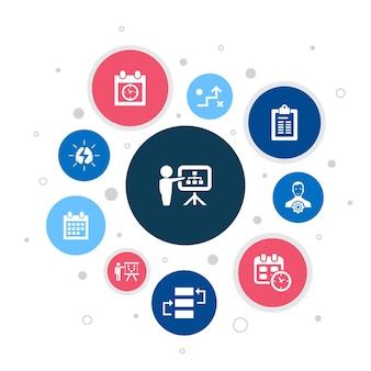 Planejando infográfico design.calendar de bolha de 10 etapas, cronograma, calendário, ícones simples de plano de ação