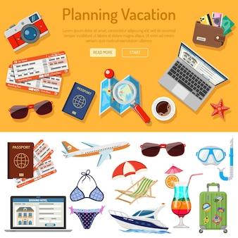 Planejando infográficos de férias.