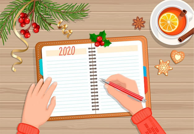 Planejando o ano de 2020. ano novo com alterações.
