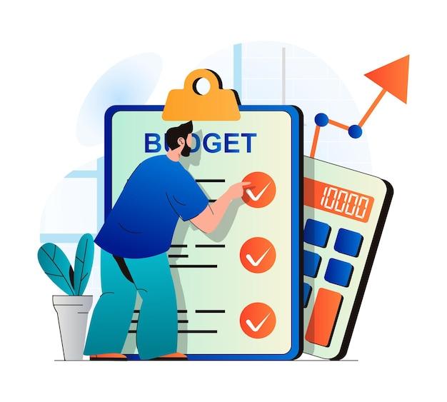 Planejando o conceito de orçamento financeiro em design plano moderno. homem examina a lista de verificação e faz contabilidade