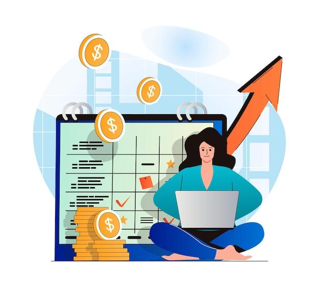 Planejando o conceito de orçamento financeiro em design plano moderno mulher faz análises contábeis