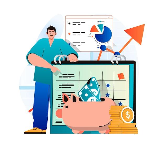 Planejando o conceito de orçamento financeiro em um design moderno e plano o homem mantém os registros contábeis