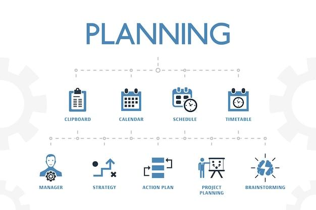 Planejando o modelo de conceito moderno com 2 ícones coloridos simples. contém ícones como calendário, programação, horário, plano de ação e muito mais