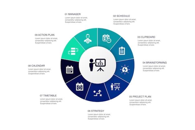 Planejando o projeto do círculo de 10 etapas infográfico. ícones simples de calendário, cronograma, cronograma, plano de ação