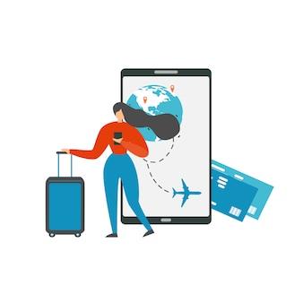 Planejando viagens de férias com vetor de aplicativo móvel