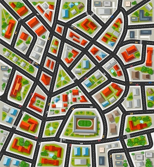 Planeje para a cidade grande com ruas, telhados, carros. cidade em vista de planta.