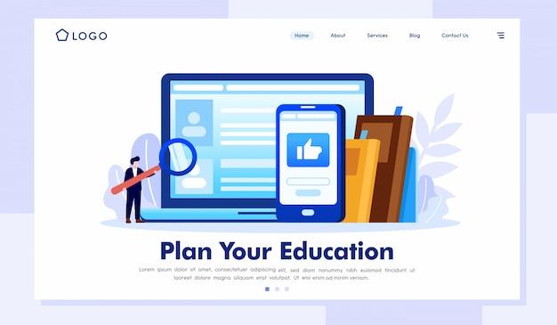 Planeje sua educação página inicial ilustração site vector