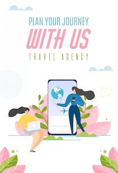 Planeje sua jornada conosco slogan de comércio