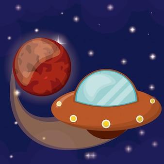 Planet mars com ufo voando
